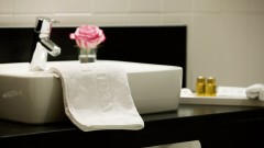 Elegant bathrooms at the Hotel Das TIGRA in Vienna