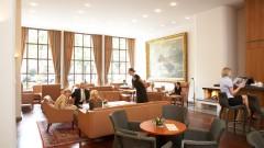 The stylish lobby at the Hotel Baseler Hof in Hamburg