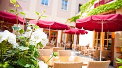 Comfortable outdoor restaurant at the Austria Classic Hotel in Vienna